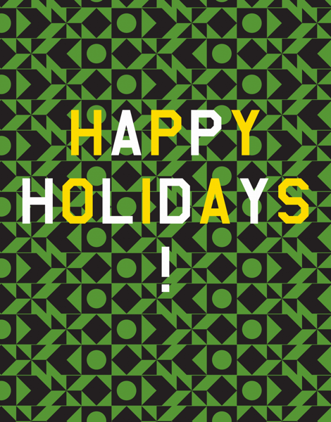 green and yellow happy holidays card