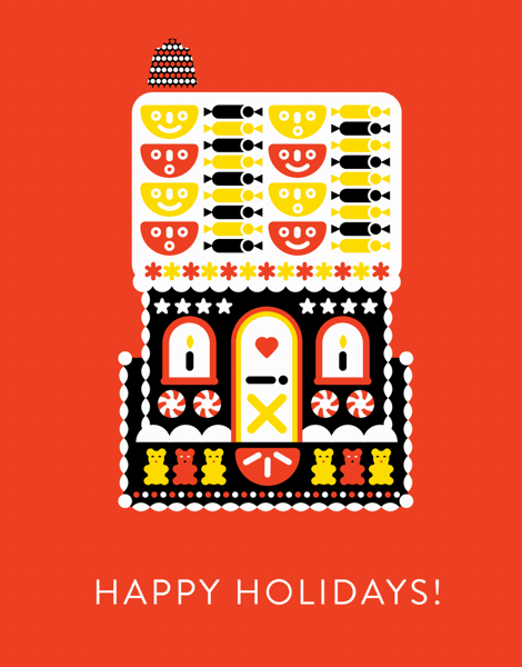 modern red happy holidays greeting