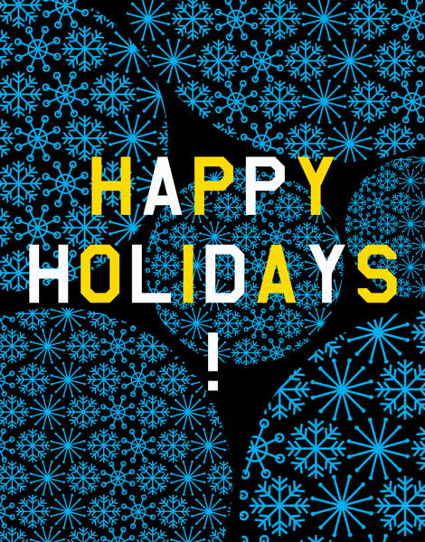 blue happy holidays card with snow flakes