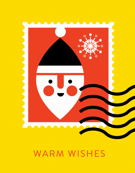 bright warm wishes greeting card with santa
