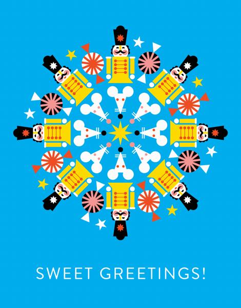 bright nut cracker sweet greetings card