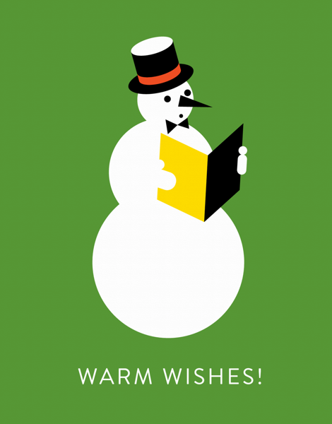 colorful snowman warm wishes greeting