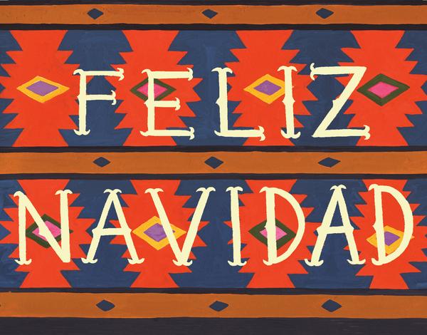 blue and red feliz Navidad Card