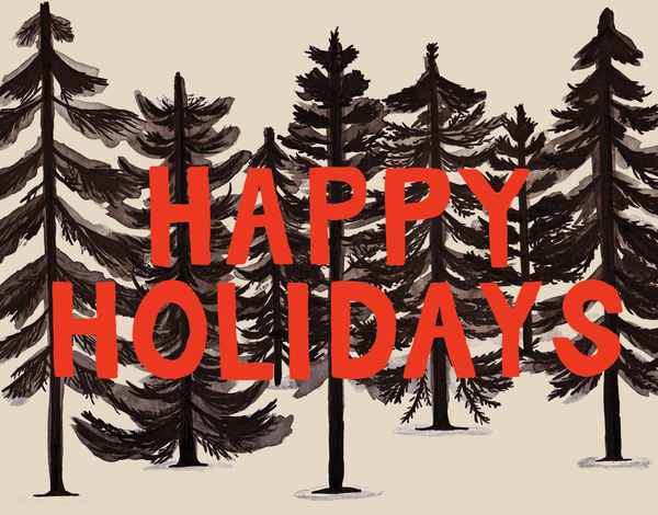 Pine tree forrest happy holidays greeting card