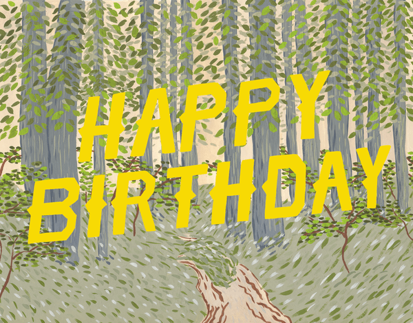 Yellow Forest Birthday Card