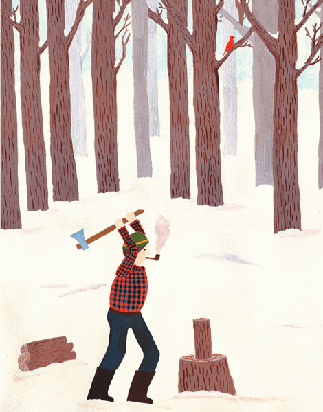 winter greeting card with a lumberjack