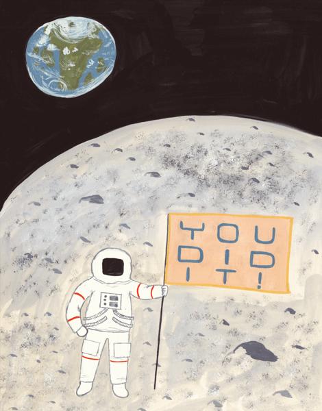Cute Astronaut Congrats Card
