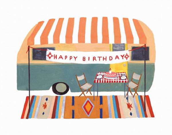 Camper Trailer Birthday Card