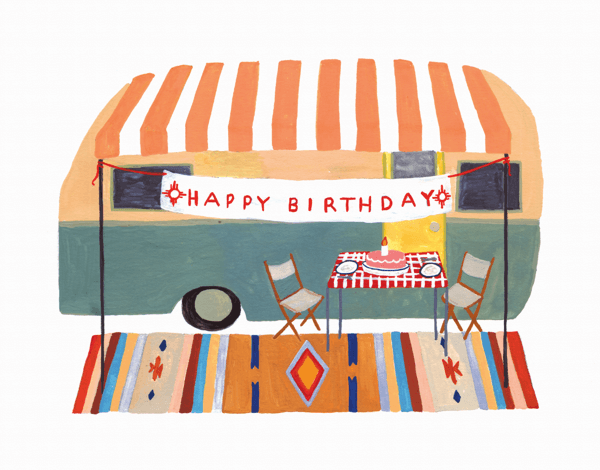 Camper Trailer Birthday Card