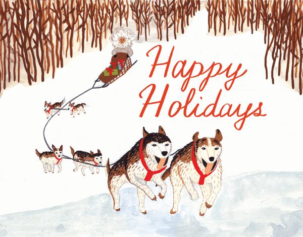 Dog Sled Winter Holiday Card