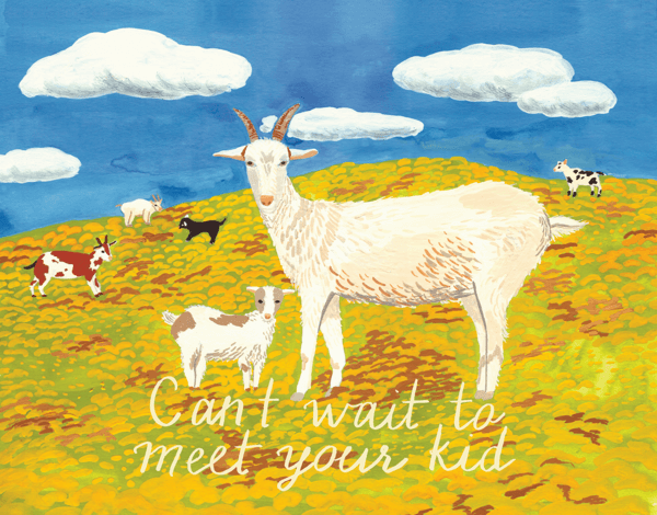 Goat Kid Baby Congrats Card