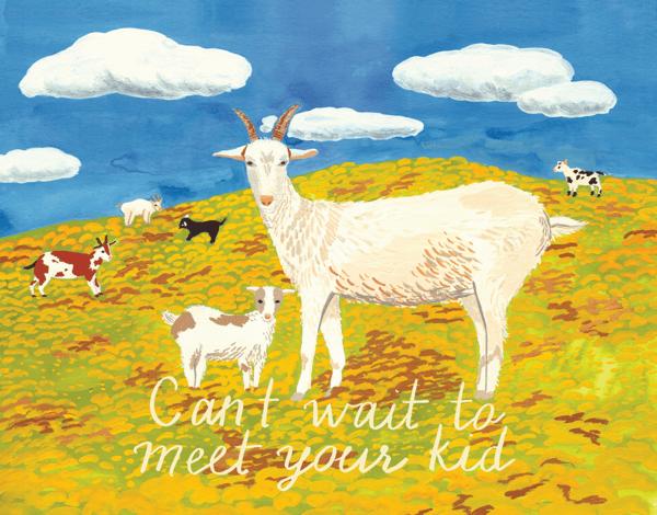 Goat Kid Baby Congrats Card