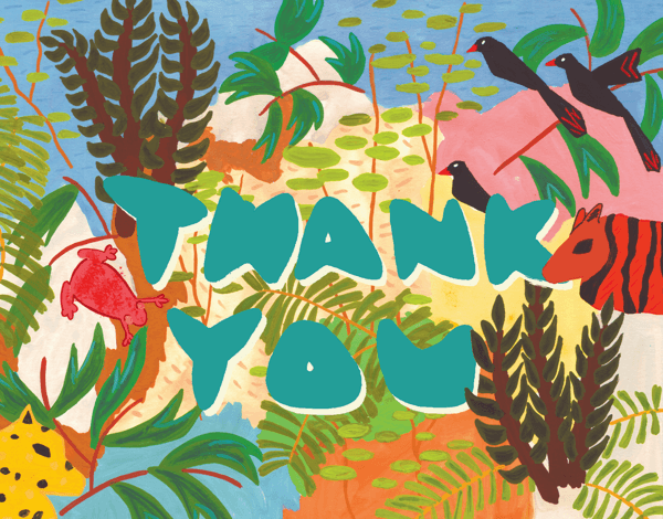Painted Jungle Thank You Card