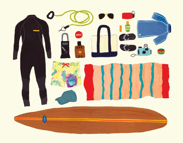 Surfing Gear Greeting Card