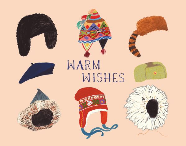 Warm Wishes Winter Hat Holiday Card