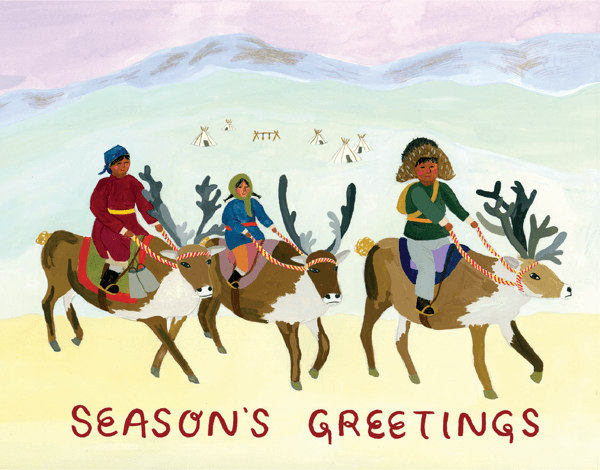 unique hand painted seasons greetings card