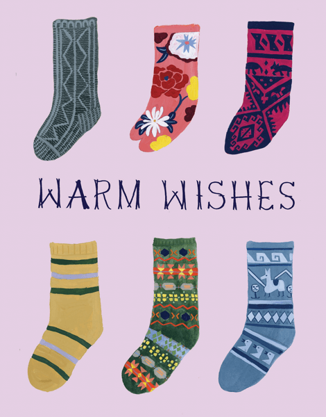 warm wishes socks on a greeting card