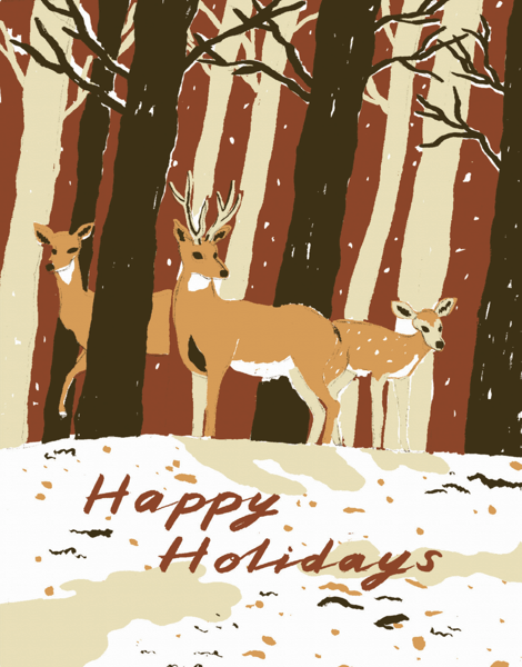 hand painted happy holidays card with deer