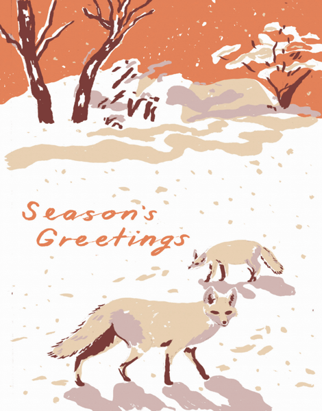 vintage season's greetings card with foxes