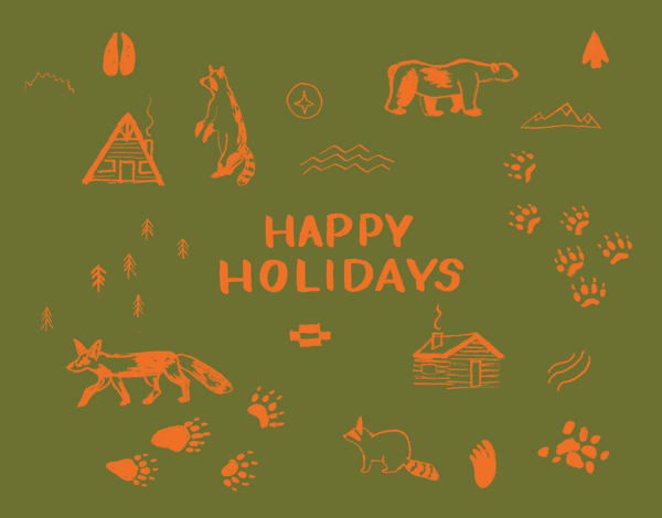 hand painted green happy holidays greeting with map symbols