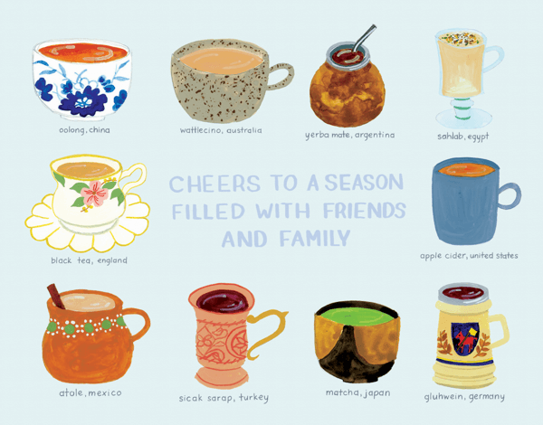 warm drinks holiday greeting card