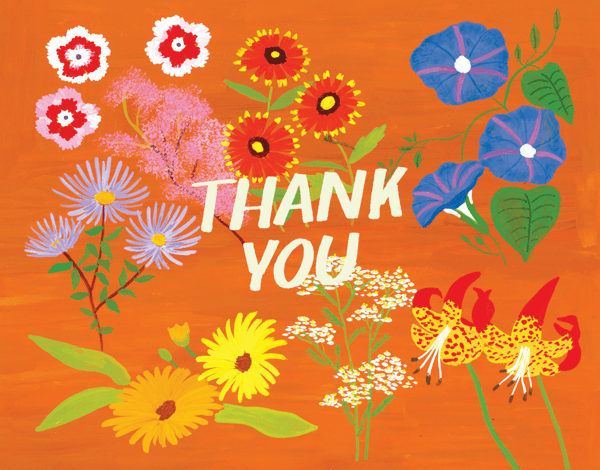 Rusty Orange Floral Thank You