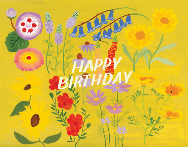Yellow Floral Birthday