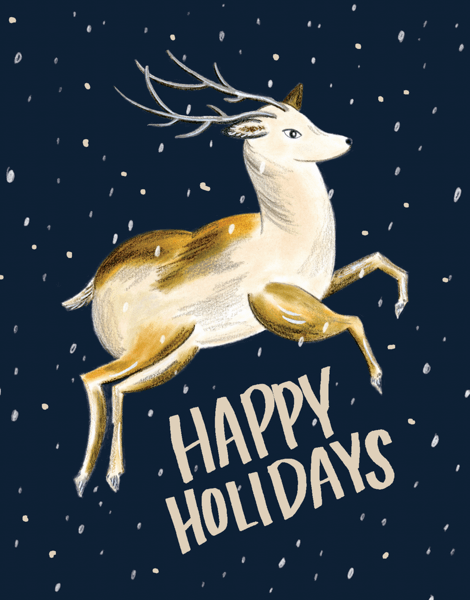 flying-reindeer-painted-holiday-card