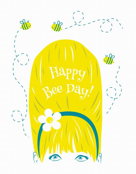 Cheerful Happy Bee Day Birthday Card