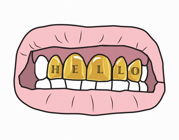 Trendy Gold Teeth Hello Card