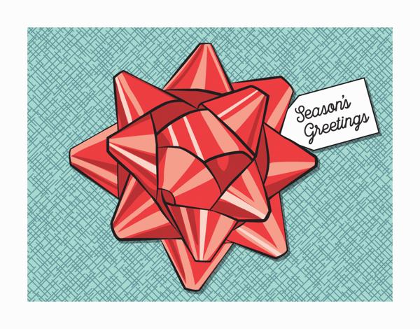 gift bow seasons greetings card