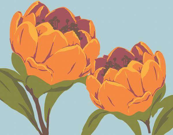 Large Orange Floral Stationery