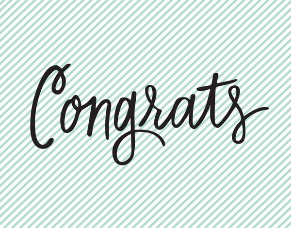 Mint Striped Congrats Card