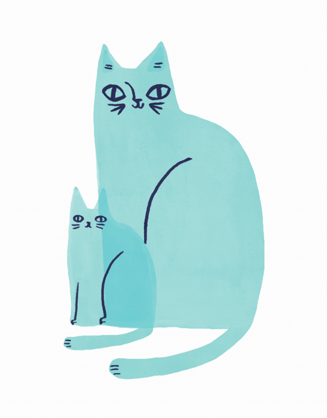 Cat Family Blue