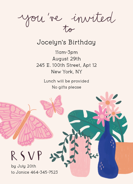 Butterfly Invitation