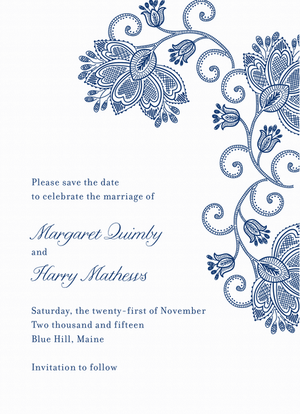 Elegant Blue Flower Save the Date