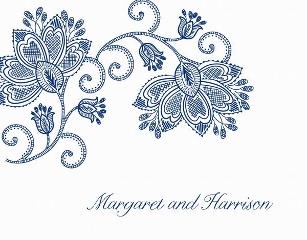 Elegant Blue Flower Custom Thank You
