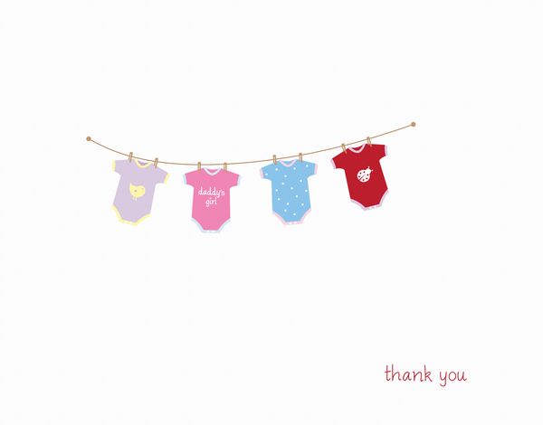 Baby Girl Clothes Line Thank You Card
