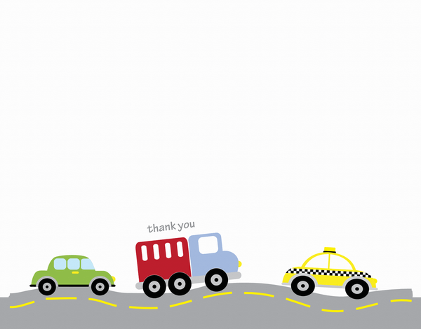 Driving Toy Car Thank You Card