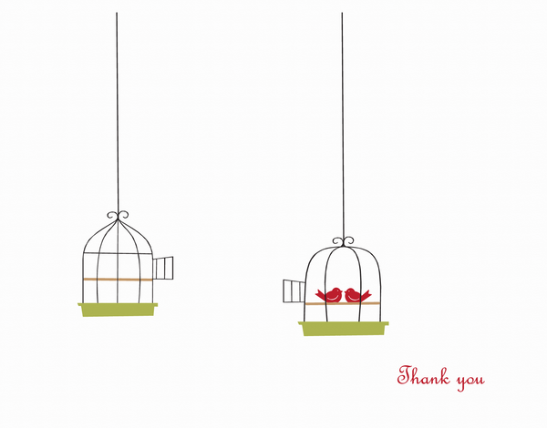 Illustrated Love Birds Thank You Card