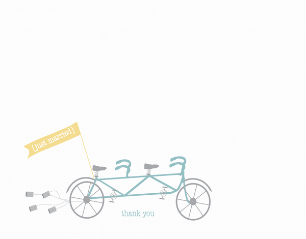 Just Married Bike Thank You Card