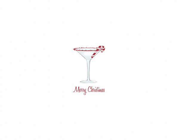 Candy Cane Martini Christmas Card