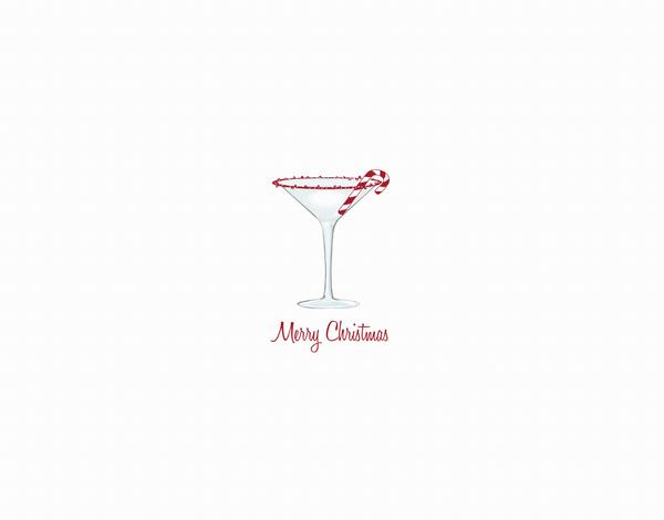 Candy Cane Martini Christmas Card