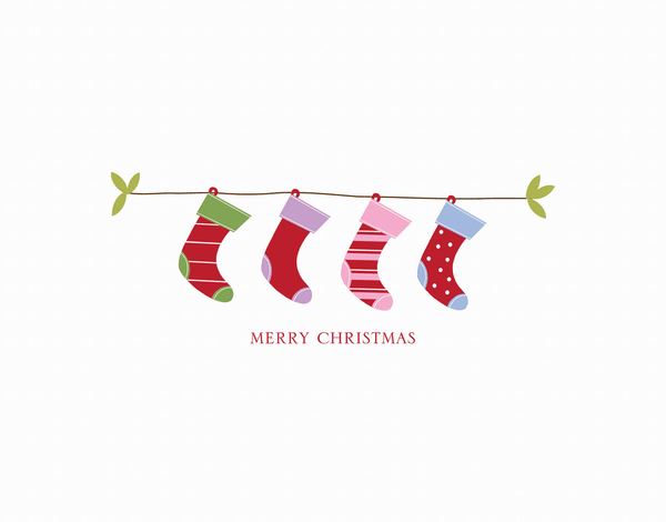 Hanging Stockings Christmas Card