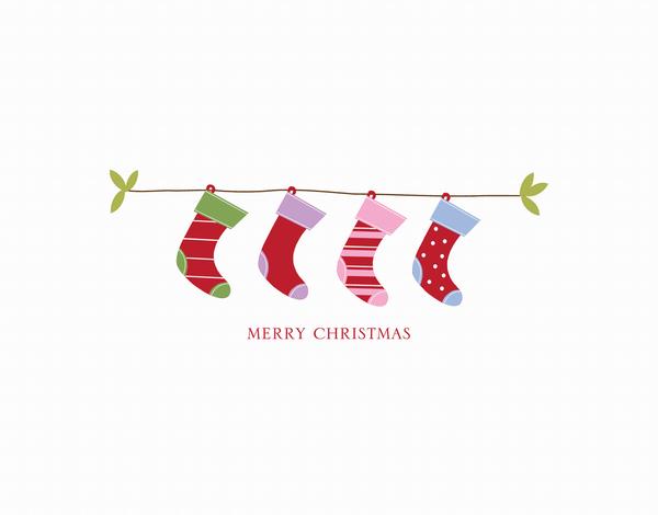 Hanging Stockings Christmas Card