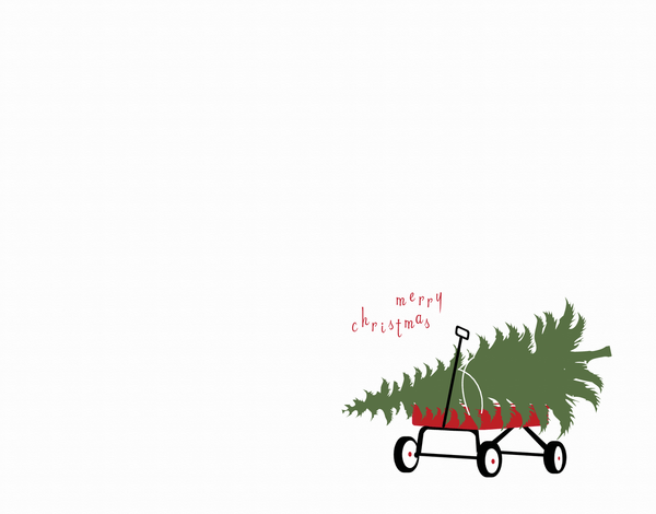 Cute Christmas Tree Wagon Holiday Card