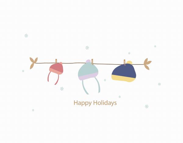 Winter Hats Holiday Card