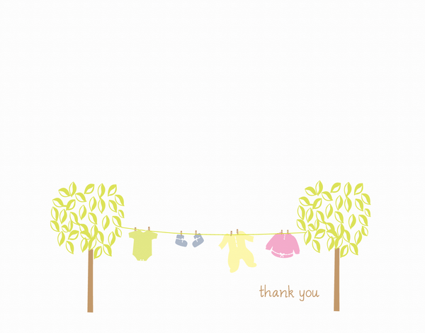 Clothes Line Baby Thank You Card