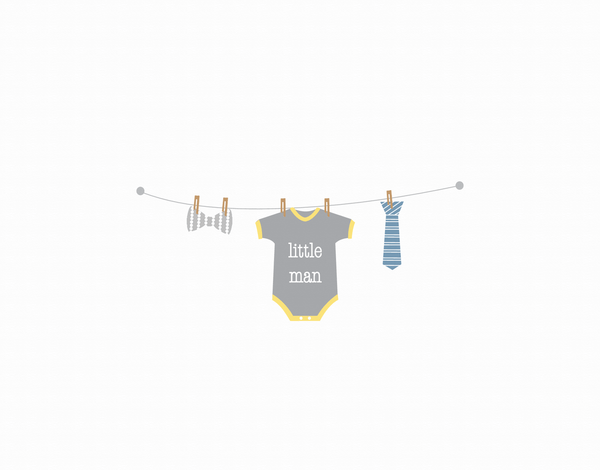 Little Man Clothesline Greeting Card