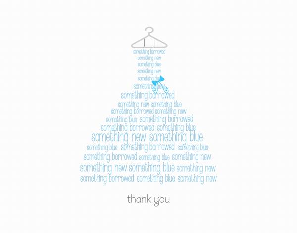Blue Wedding Dress Thank You Card